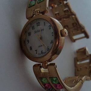 Bracelet Watch Austrian Crystals MOP face working